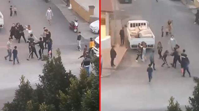 Husumetli iki grup sokak ortasında birbirine girdi! Kadınlar da kavgaya dahil olunca olay büyüdü